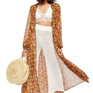 Free People Valerie Duster Maxi Jacket Printed New